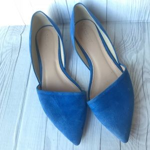 J Crew Sloan Blue Suede D'Orsay Pointy Toe Flats